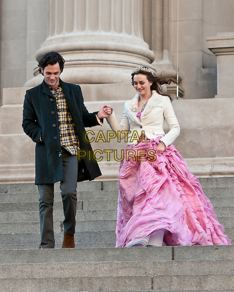 Penn Badgley & Leighton Meester.film 'Gossip Girl' on the steps of The Metropolitan Museum of Art, New York City, NY, USA..6th January 2012 .on the set of filming acting costume black jacket grey gray trousers yellow check shirt pink gown dress white full length holding hands tiara.CAP/ADM/CS.© Chris Smith/AdMedia/Capital Pictures