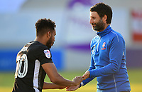 Lincoln City's Matt Green shakes hands with Lincoln City manager Danny Cowley before kick off<br /> <br /> Photographer Chris Vaughan/CameraSport<br /> <br /> The EFL Sky Bet League Two Play Off Second Leg - Exeter City v Lincoln City - Thursday 17th May 2018 - St James Park - Exeter<br /> <br /> World Copyright &copy; 2018 CameraSport. All rights reserved. 43 Linden Ave. Countesthorpe. Leicester. England. LE8 5PG - Tel: +44 (0) 116 277 4147 - admin@camerasport.com - www.camerasport.com