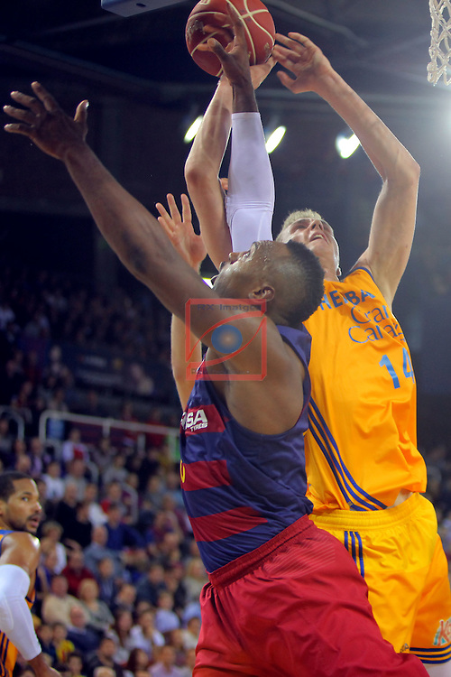 League ACB-ENDESA 2016/2017. Game: 11.<br /> FC Barcelona Lassa vs Herbalife Gran Canaria: 79-78.<br /> Joey Dorsey vs Anzejs Pasecniks.