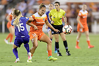 Houston, TX - Saturday June 17, 2017: Rachel Hill and Amber Brooks battle over a loose ball during a regular season National Women's Soccer League (NWSL) match between the Houston Dash and the Orlando Pride at BBVA Compass Stadium.