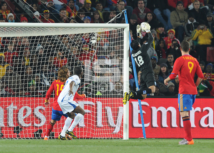Honduran goalkeeper Noel Valladares goes high to protect the near corner of his net. Spain defeated Honduras, 2-0, in their second match of play in Group H  in a match played Monday, June 21st, at Ellis Park in Johannesburg, South Africa at the 2010 FIFA World Cup..