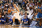 Dallas Mavericks' Jason Kidd dribbles down court against the New Orleans Hornets during an NBA basketball game at American Airlines Center in Dallas on February 28, 2010.   (Photo by Khampha Bouaphanh)