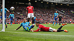Paul Pogba of Manchester United waits to punch and score after Alexis Sanchez of Manchester United header is stopped during the premier league match at the Old Trafford Stadium, Manchester. Picture date 29th April 2018. Picture credit should read: Simon Bellis/Sportimage