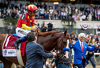 ELMONT, NY - JUNE 09: - Bob Baffert celebrates winning the Triple Crown with Justify #1 with Mike Smith aboard  at Belmont Park on June 09, 2018 in Elmont, New York. (Photo by Alex Evers/Eclipse Sportswire/Getty Images)