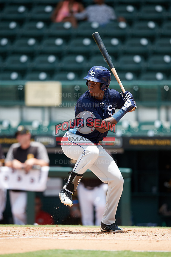 Charlotte Stone Crabs right fielder Jesus Sanchez (4) at bat during a game against the Bradenton Marauders on June 3, 2018 at LECOM Park in Bradenton, Florida.  Charlotte defeated Bradenton 10-1.  (Mike Janes/Four Seam Images)