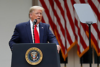 United States President Donald J. Trump with members of his administration delivers remarks on China in the Rose Garden at the White House in Washington, DC on May 29, 2020. <br /> Credit: Yuri Gripas / Pool via CNP/AdMedia