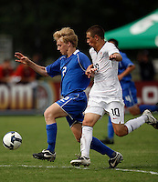 Billy McGuinness (2) of the Academy Select Team and Dominick Sarle (10) of the USA. The US U-17 Men's National Team defeated the Development Academy Select Team 5-3 during day two of the US Soccer Development Academy  Spring Showcase in Sarasota, FL, on May 23, 2009.