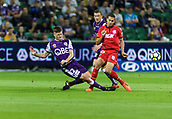 4th November 2017, nib Stadium, Perth, Australia; A-League football, Perth Glory versus Adelaide United; Alex Grant of Perth Glory challenges Karim Matmour of Adelaide United
