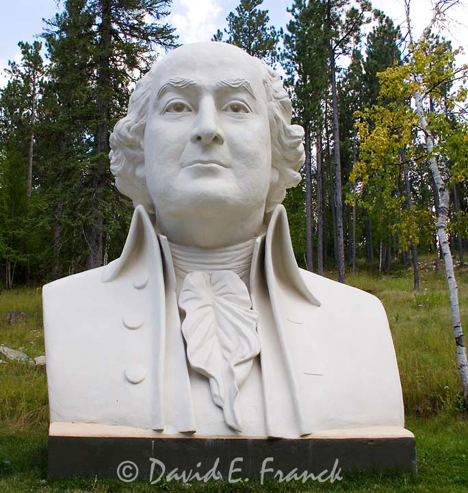 John Adams bust by sculptor David Adickes at Presidents Park in Lead South Dakota