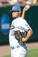 UCLA starting pitcher Gerrit Cole warms up before Game One of the NCAA Division One Men's College World Series Finals on June 28th, 2010 at Johnny Rosenblatt Stadium in Omaha, Nebraska.  (Photo by Andrew Woolley / Four Seam Images)