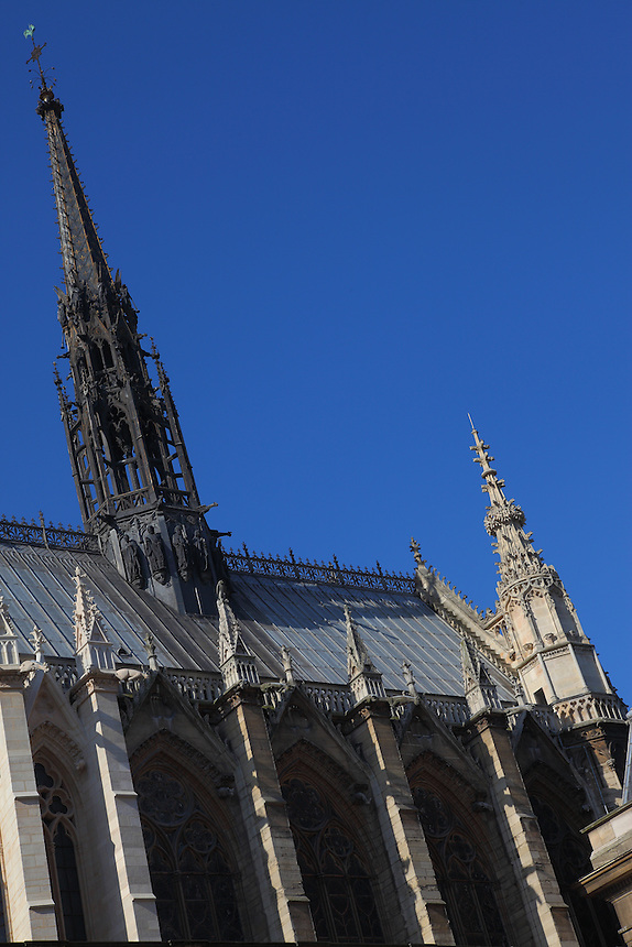 A view of a part of the top of the Sainte Chapelle in Paris. Digitally Improved Photo.