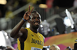 Usain Bolt (JAM) gives his fans the Victory sign following his mens 100m heat. IAAF World athletics championships. London Olympic stadium. Queen Elizabeth Olympic park. Stratford. London. UK. 04/08/2017. ~ MANDATORY CREDIT Garry Bowden/SIPPA - NO UNAUTHORISED USE - +44 7837 394578