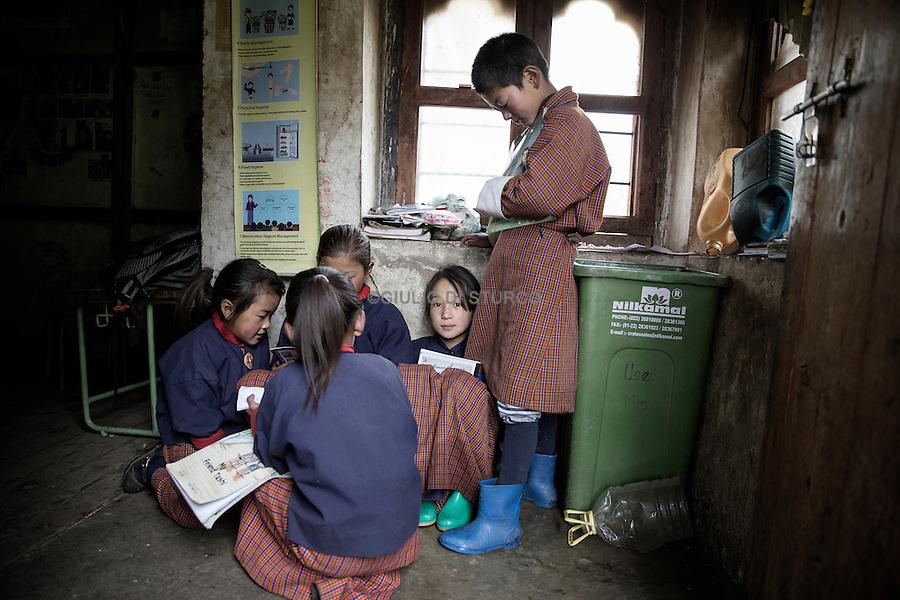 Children attending the school in Dango Chang village at 4100 metri, 28 Houses and 300 people live here. Jhomolhari, Bhutan June 2016