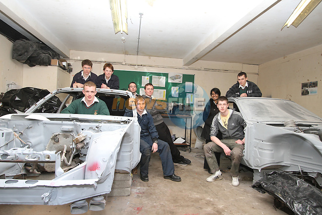 Drogheda Grammar School Students, Richard Armstrong, Sebastian Heise, Michael Hennessy, Chris Floody, Ryan Boyle, Mark Bellew, Krithka Anil, Sebastien Durbano and Max Yore with their Car Restoration Project.. ..(Photo credit should read Jenny Matthews/www.newsfile.ie)....This Picture has been sent you under the conditions enclosed by:.Newsfile Ltd..The Studio,.Millmount Abbey,.Drogheda,.Co Meath..Ireland..Tel: +353(0)41-9871240.Fax: +353(0)41-9871260.GSM: +353(0)86-2500958.email: pictures@newsfile.ie.www.newsfile.ie.