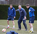 Ally McCoist laughing at his players at training