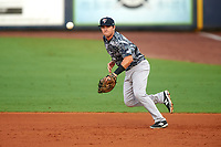 Tampa Yankees first baseman Tim Lynch (25) fields a ground ball during the second game of a doubleheader against the Charlotte Stone Crabs on July 18, 2017 at Charlotte Sports Park in Port Charlotte, Florida.  Charlotte defeated Tampa 2-1.  (Mike Janes/Four Seam Images)