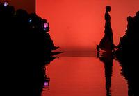 Una modella presenta una creazione di Christie Brown durante la rassegna ITC's Ethical Fashion Initiative con Altaroma a Roma, 7 luglio 2013.<br /> A model wears a creation of Christie Brown during the ITC's Ethical Fashion Initiative and  Altaroma in Rome, 7 July 2013.<br /> UPDATE IMAGES PRESS/Virginia Farneti