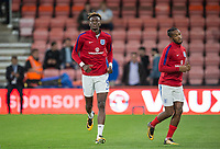 Tammy Abraham (Swansea City (on loan from Chelsea) of England U21 warms up with Kasey Palmer (Huddersfield Town (on loan from Chelsea) of England U21  ahead of the UEFA EURO U-21 First qualifying round International match between England 21 and Latvia U21 at the Goldsands Stadium, Bournemouth, England on 5 September 2017. Photo by Andy Rowland.