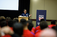 Bradenton, FL : Michael Kammarman speaks to US Soccer athletes during a presentation in Bradenton, Fla., on January 4, 2018. (Photo by Casey Brooke Lawson)