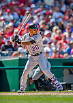 14 April 2018: Colorado Rockies first baseman Ian Desmond in action against the Washington Nationals at Nationals Park in Washington, DC. The Nationals rallied to defeat the Rockies 6-2 in the 3rd game of their 4-game series. Mandatory Credit: Ed Wolfstein Photo *** RAW (NEF) Image File Available ***