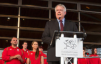 Wednesday September 10, 2014 <br /> Picture: First Minister, Carwyn Jones speaking at the Commonwealth Games homecoming ceremony for Team Wales at the Senedd, Cardiff, South Wales, United Kingdom.
