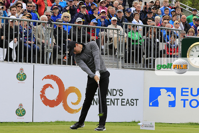 Rory McIlroy (NIR) tees off the 1st tee during Wednesday's Pro-Am of the 2016 Dubai Duty Free Irish Open hosted by Rory Foundation held at the K Club, Straffan, Co.Kildare, Ireland. 18th May 2016.<br /> Picture: Eoin Clarke | Golffile<br /> <br /> <br /> All photos usage must carry mandatory copyright credit (&copy; Golffile | Eoin Clarke)