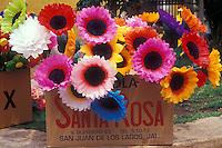 Colourful artificial flowers, San Miguel de Allende, Mexico