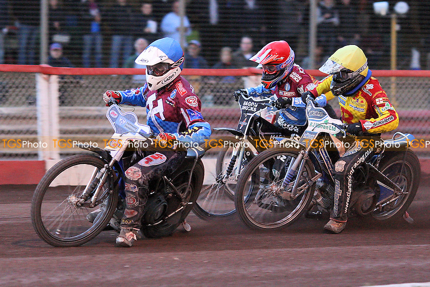 Heat 10: Lee Richardson (red), Stuart Robson (blue) and Danny King - Lakeside Hammers vs Birmingham Brummies - Elite League Knockout Cup at Arena Essex Raceway - 10/06/11 - MANDATORY CREDIT: Gavin Ellis/TGSPHOTO - Self billing applies where appropriate - Tel: 0845 094 6026
