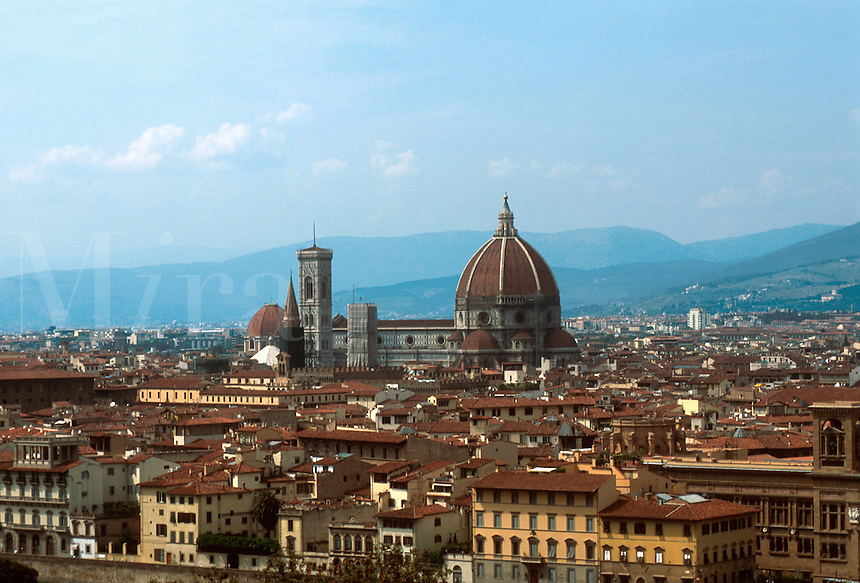 Overview cityscape of Florence with the Duomo in the center. Florence, Italy.