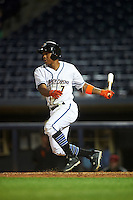 Akron RubberDucks second baseman Claudio Bautista (7) at bat during a game against the Richmond Flying Squirrels on July 26, 2016 at Canal Park in Akron, Ohio .  Richmond defeated Akron 10-4.  (Mike Janes/Four Seam Images)