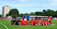 Lincoln City manager Danny Cowley (stood left) and Lincoln City's assistant manager Nicky Cowley (stood right) deliver their pre-match team talk to their players on the pitch<br /> <br /> Photographer Chris Vaughan/CameraSport<br /> <br /> Football - Pre-Season Friendly - Lincoln United v Lincoln City - Saturday 8th July 2017 - Sun Hat Villas Stadium - Lincoln<br /> <br /> World Copyright &copy; 2017 CameraSport. All rights reserved. 43 Linden Ave. Countesthorpe. Leicester. England. LE8 5PG - Tel: +44 (0) 116 277 4147 - admin@camerasport.com - www.camerasport.com