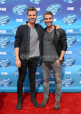 HOLLYWOOD, CA - MAY 13: Clark Beckham and Nick Fradiani arriving at the 2015 American Idol Season 14 Finale at the Dolby Theatre on May 13, 2015 in Hollywood, California. Credit: PGTW/MediaPunch