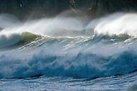 Windblown waves at Rialto Beach, Olympic National Park, Washington State
