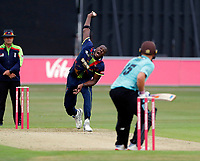 Carlos Braithwaite of Kent bowls to Aaron Finch during the Vitality Blast south group game between Kent Spitfires and Surrey at the St Lawrence ground, Canterbury, on Fri July 20, 2018