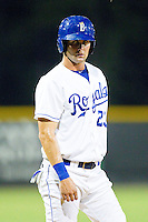 Bubba Starling #23 of the Burlington Royals takes his lead off of third base against the Bristol White Sox at Burlington Athletic Park on July 6, 2012 in Burlington, North Carolina.  The Royals defeated the White Sox 5-2.  (Brian Westerholt/Four Seam Images)
