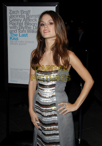 "RACHEL BILSON.L.A. Premiere of ""The Last Kiss"" held at The DGA in West Hollywood, California, USA..September 13th, 2006.Ref: DVS.half length grey gray silver dress stripes striped hand on hip ring.www.capitalpictures.com.sales@capitalpictures.com.©Debbie VanStory/Capital Pictures"