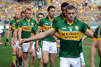 Fionn Fitzgerald leads his team in the All-Ireland Football Final against Donegal in Croke Park 2014.<br /> Photo: Don MacMonagle<br /> <br /> <br /> Photo: Don MacMonagle <br /> e: info@macmonagle.com