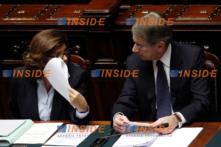 Paola Severino e Giulio Terzi di Sant'Agata.Roma 30/10/2012 Camera. Voto di fiducia sul DDL Anticorruzione..Photo Samantha Zucchi Insidefoto