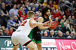 SIOUX FALLS, SD - MARCH 8: Marlon Stewart #1 of the North Dakota Fighting Hawks looks to pass to a teammate against Tyler Peterson #22 of the South Dakota Coyotes at the 2020 Summit League Basketball Championship in Sioux Falls, SD. (Photo by Richard Carlson/Inertia)