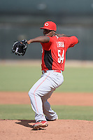 Cincinnati Reds pitcher Jefry Sierra (54) during an Instructional League game against the Texas Rangers on October 7, 2013 at Goodyear Training Complex in Goodyear, Arizona.  (Mike Janes/Four Seam Images)