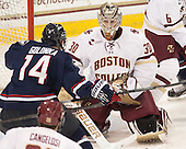Will Golonka (UConn - 14), Thatcher Demko (BC - 30) - The Boston College Eagles defeated the visiting University of Connecticut Huskies 3-2 on Saturday, January 24, 2015, at Kelley Rink in Conte Forum in Chestnut Hill, Massachusetts.