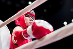 Jumpo Yurika (Red) of Japan looks during the female muay 48KG division weight bout against Kwok How Ling (Not in picture) of Hong Kong at the East Asian Muaythai Championships 2017 at the Queen Elizabeth Stadium on 13 August 2017, in Hong Kong, China. Photo by Yu Chun Christopher Wong / Power Sport Images