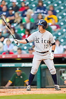 Keenan Cook #17 of the Rice Owls at bat against the Baylor Bears at Minute Maid Park on March 6, 2011 in Houston, Texas.  Photo by Brian Westerholt / Four Seam Images