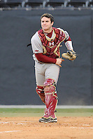 Catcher Nick Sciortino (7) of the Boston College Eagles throws to third base in a game against the Wofford College Terriers on Friday, February 13, 2015, at Russell C. King Field in Spartanburg, South Carolina. Wofford won, 8-4. (Tom Priddy/Four Seam Images)