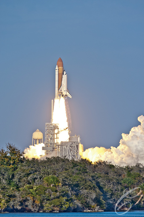 Space Shuttle Discovery takes off from the Kennedy Space Center for the final time on February 24, 2011.  Discovery's mission takes it to the International Space Station (ISS) to deliver the PMM module and Robonaut 2.