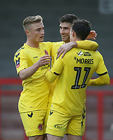 Fleetwood Town's Josh Morris celebrates scoring his side's first goal with Ched Evans and Kyle Dempsey<br /> <br /> Photographer Rob Newell/CameraSport<br /> <br /> Emirates FA Cup Second Round - Crawley Town v Fleetwood Town - Sunday 1st December 2019 - Broadfield Stadium - Crawley<br />  <br /> World Copyright © 2019 CameraSport. All rights reserved. 43 Linden Ave. Countesthorpe. Leicester. England. LE8 5PG - Tel: +44 (0) 116 277 4147 - admin@camerasport.com - www.camerasport.com