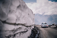 Team Groupama-FDJ teamcar up the gravel roads of the Colle delle Finestre <br /> <br /> stage 19: Venaria Reale - Bardonecchia (184km)<br /> 101th Giro d'Italia 2018