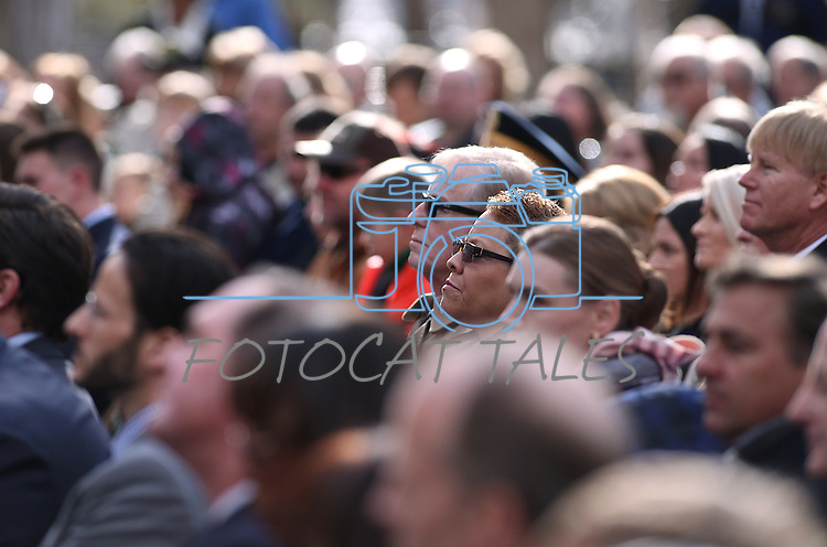 Nevada Senate Democrats David Parks and Patricia Spearman, center, were among hundreds attending the inauguration at the Capitol, in Carson City, Nev., on Monday, Jan. 5, 2015.<br /> Photo by Cathleen Allison