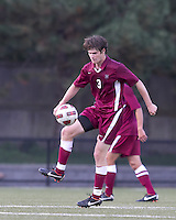Harvard University midfielder Scott Prozeller (3) traps the ball. Boston College defeated Harvard University, 2-0, at Newton Campus Field, October 11, 2011.