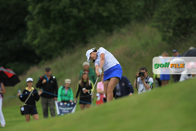 Olivia Mehaffey on the 12th during the Friday morning Foursomes of the 2016 Curtis Cup at Dun Laoghaire Golf Club on Friday 10th June 2016.<br /> Picture:  Golffile | Thos Caffrey